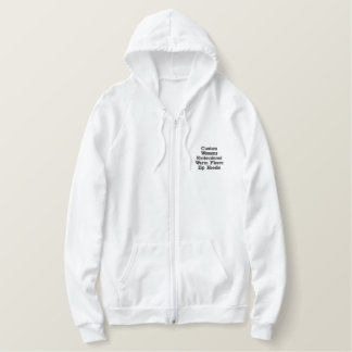 Custom Womens Embroidered Warm Fleece Zip Hoodie