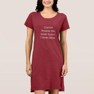 Custom Womens Short Sleeve Red T-Shirt Dress
