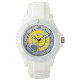 Custom Women's Sporty White Silicon Watch  wheels