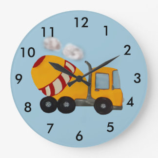 Custom yellow and red concrete mixer wallclock