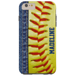 Custom Yellow Softball Red Stitch Pattern Tough iPhone 6 Plus Case