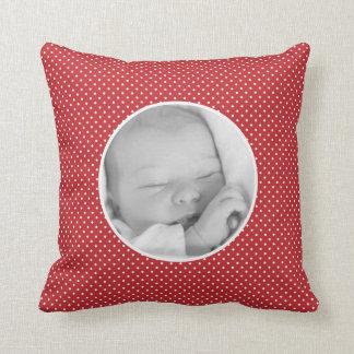 Custom your baby photo polka dots throw pillow throw cushion