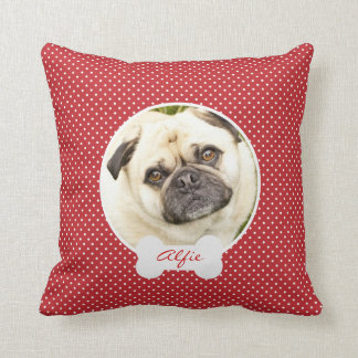 Custom your dog photo name polka dots throw pillow cushion
