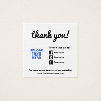 Customer Appreciation Social Media Icons Square Business Card