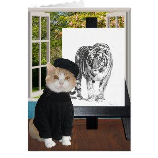 Customisable Birthday for Artist & Cat Lover Card