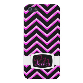Customisable Chevron Hot Pink (Monogram) Cover For iPhone 5/5S
