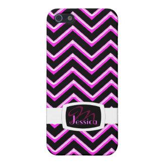 Customisable Chevron Hot Pink (Monogram) iPhone 5/5S Case