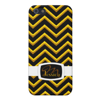 Customisable Chevron Metallic/Golden (Monogram) iPhone 5/5S Covers