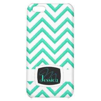 Customisable Chevron Mint Green (Monogram) iPhone 5/5S Cases