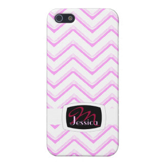 Customisable Chevron Soft Pink (Monogram) Case For The iPhone 5