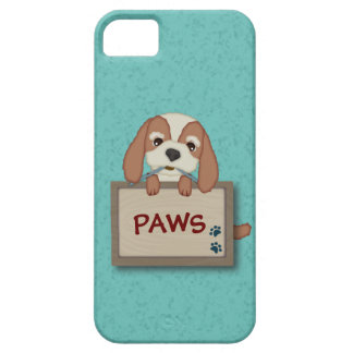 Customisable Cute Puppy Dog with Signboard Cover For iPhone 5/5S