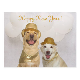 Customisable Dog/Lab Happy New Year Postcard