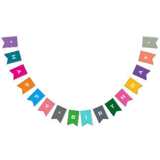 Customisable Happy Birthday Colourful Party Banner