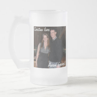 "Customisable ""loves"" Mug! Frosted Glass Beer Mug"