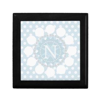 Customisable Monogram Blue Polka Dot/Circle Box