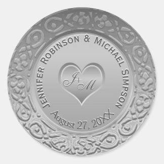 Customizable Monogram Silver Foil Look Wedding