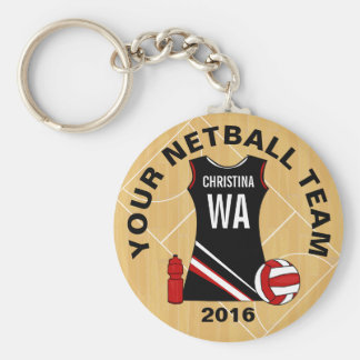 Customisable Netball Basic Round Button Key Ring