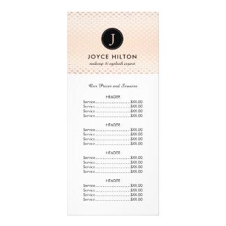 Customisable Rose Gold Price List Rack Card