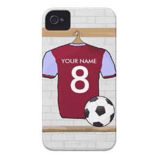 Customisable Soccer Shirt (claretblue) iPhone 4 Cases