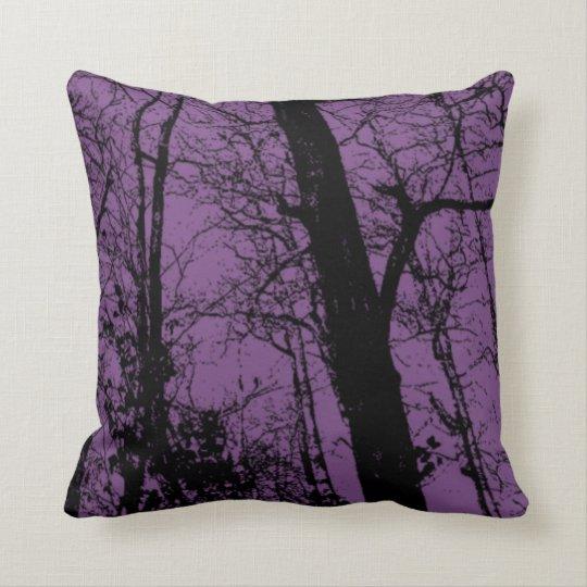 Customise colour black abstract tree purple cushion