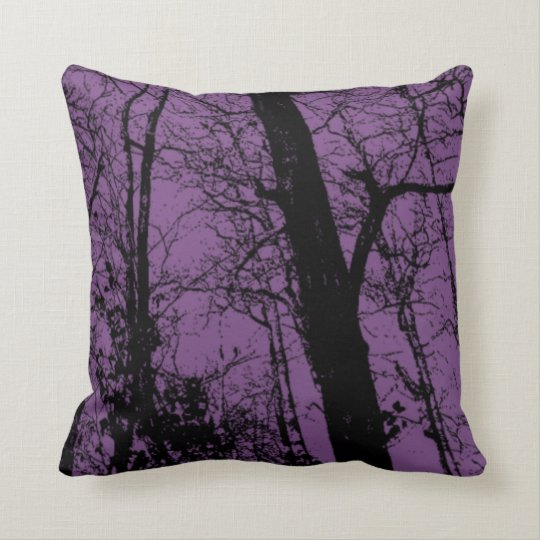 Customise colour black abstract tree purple throw pillow