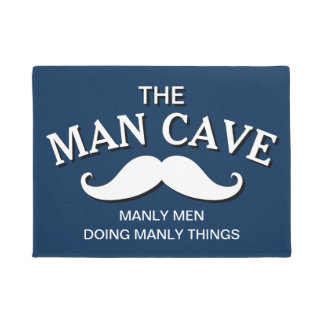 Customised Blue Funny Man Cave Sign Doormat