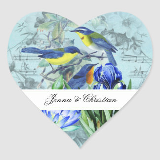 Customised Wedding Songbirds Heart Stickers