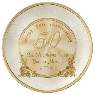 Wedding Anniversary Gift Baskets Nz : Customizable 50th Wedding Anniversary Gifts Porcelain Plates