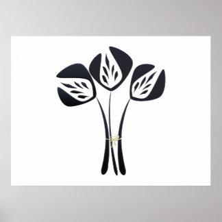 Customizable Art Deco Style Black Flowers Bouquet Poster