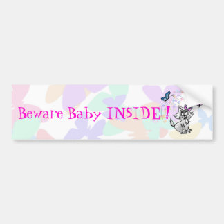Customizable Baby cat with butterfly Bumper Sticker