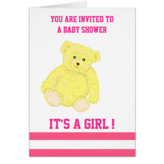 Customizable Baby Shower Invitation girl Greeting Card