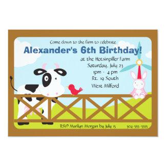 "Customizable Barnyard Birthday Party 5"" X 7"" Invitation Card"