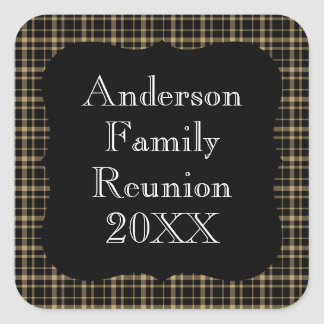 Customizable Black and Tan Plaid Family Reunion Square Sticker