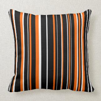 Customizable Black, Orange, & White Stripe Cushion