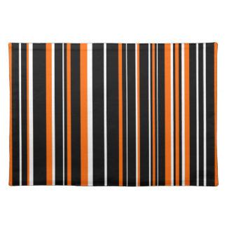 Customizable Black, Orange, & White Stripe Placemat