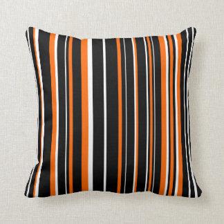 Customizable Black, Orange, & White Stripe Throw Cushion