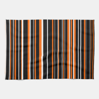 Customizable Black, Orange, & White Stripe Towel