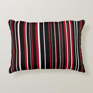 Customizable Black, Red, & White Stripe Decorative Cushion
