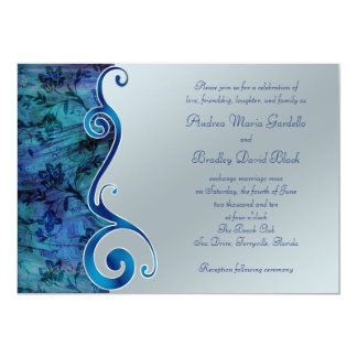 Customizable Blue and Silver Wedding Invitation