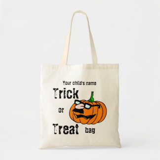 Customizable Child's Trick or Treat Funny Pumpkin Budget Tote Bag