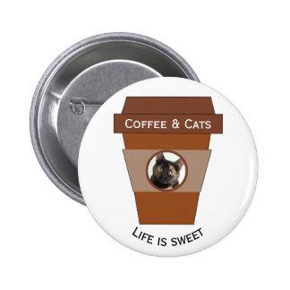 Customizable Coffee & Cats - Life is Sweet 6 Cm Round Badge