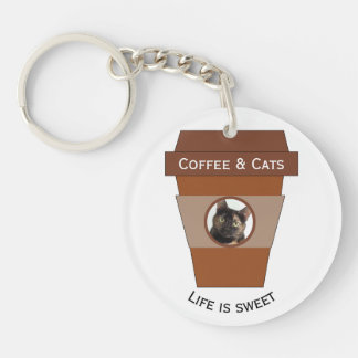 Customizable Coffee & Cats - Life is Sweet Double-Sided Round Acrylic Key Ring