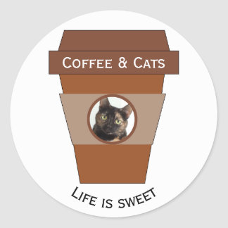 Customizable Coffee & Cats - Life is Sweet Round Sticker