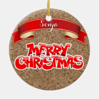 Customizable Cork and Ribbon Xmas Label Ornament