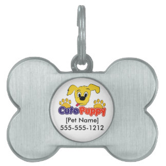Customizable Cute Puppy (R) dog tag Pet Name Tag