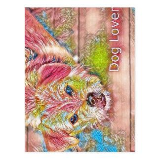 Customizable Design With Digital Drawing Of Dog Postcard