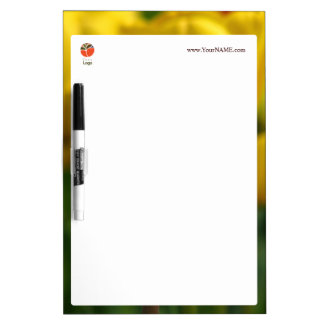 Customizable dry erase board with yellow tulips