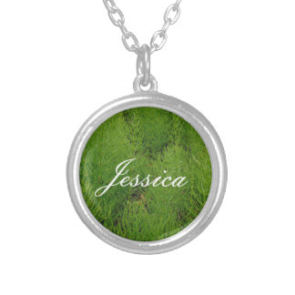 Customizable Ferns Silver Plated Necklace