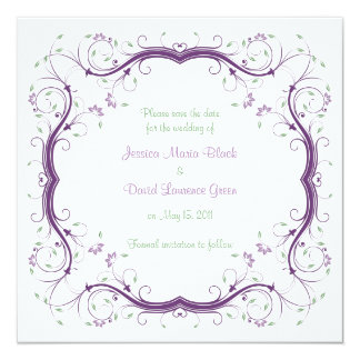 """Customizable Floral Save the Date card 5.25"""" Square Invitation Card"""