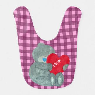 Customizable grey love bear with lovely heart bibs